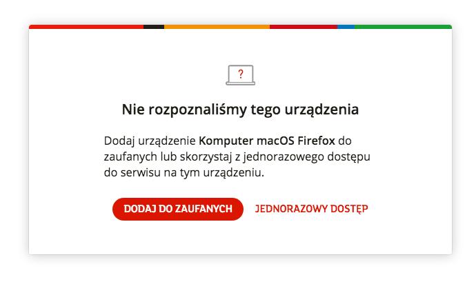 Komunikat mBanku o nie rozpoznanym urządzeniu - logowanie dekstop